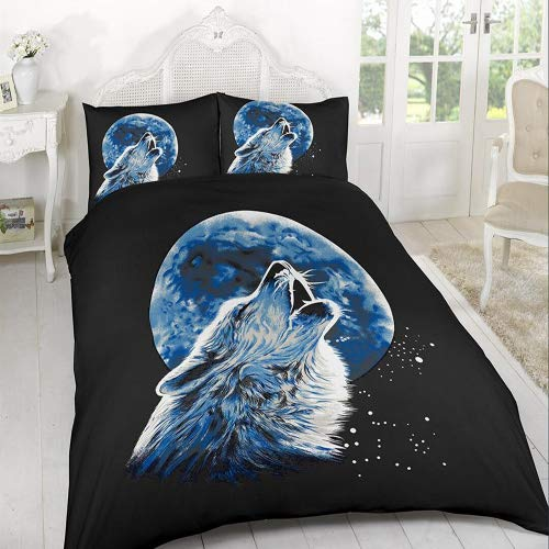 A&R New 3D Effect Duvet Cover, Bedding Sets Printed on Polyester Stuff with Pillowcases in Double, King Size (Double, Wolf Moonlight)