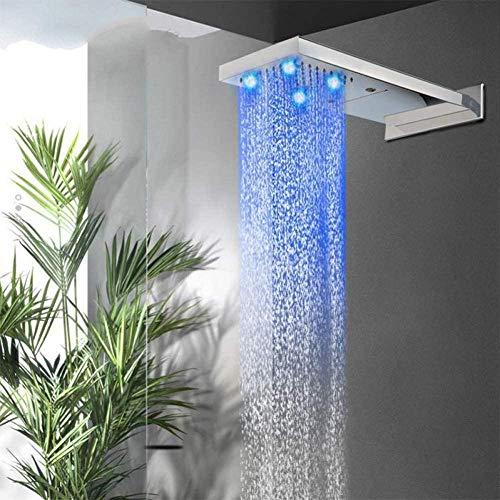 Temperatura constante montado en la pared LED grifo de la ducha lluvia cabezal de ducha bañera grifo filtro 2 vías rociar cascada lluvia ducha ducha conjunto