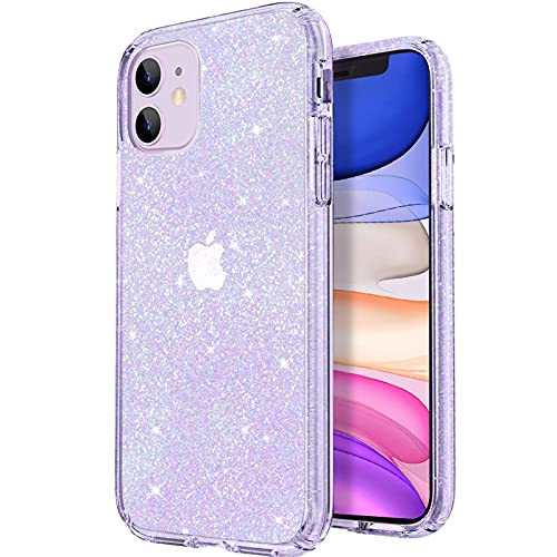 JJGoo Compatible with iPhone 11 Case, Clear Glitter Sparkle Bling Anti-Scratch Shockproof Protective Flexible Phone Cases Cute Slim Thin Cover for Women Girls (6.1 inch) 2019