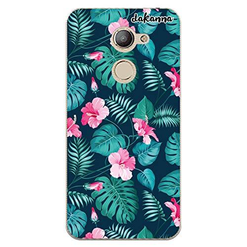 dakanna Funda Compatible con [Vodafone Smart N8] de Silicona Flexible, Dibujo Diseño [Flores Tropicales], Color [Borde Transparente] Carcasa Case Cover de Gel TPU para Smartphone