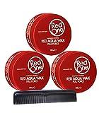 RedOne Aqua Wax Full Force Red Lot de 3 pots de cire coiffante 150 ml + Peigne de...