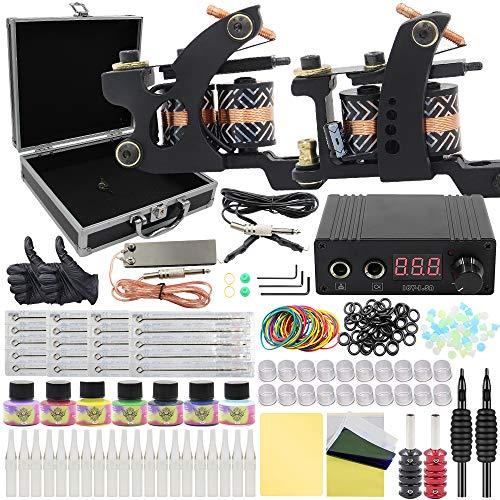Tattoo Kit - Rayyl 2pcs Tattoo Maschinen Tattoo Gun Kit Mini Tattoo Netzteil Tattoo Nadeln Tipps 7 Tattoo Tinten Tattoo Transfer Papier Tattoo Zubehör Tragetasche Tattoo Zubehör