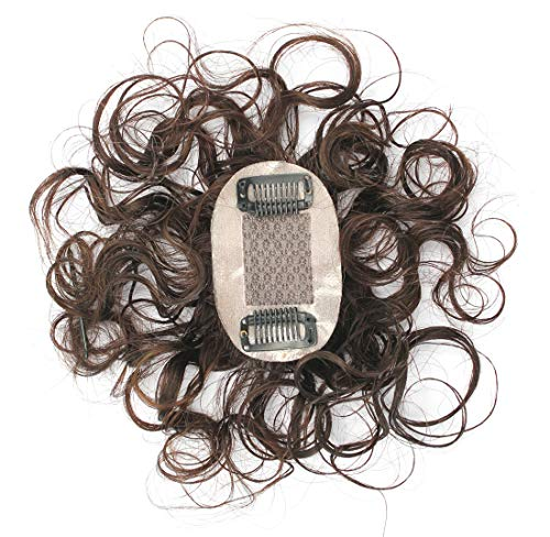 """Susanki 2""""x3"""" Silk Top Curly Human Hair Toppers for Women with Crown Thinning Hair, 6"""" Short Clip on Bang Wiglet Hair Pieces, Off Black"""