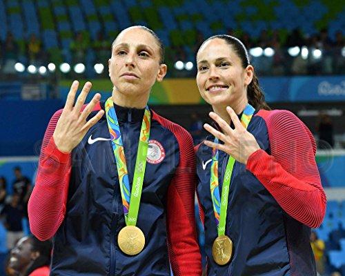 SPORTSPHOTOSUSA Diana Taurasi & Sue Bird USA 2016 Medalla Olímpica de Oro de Baloncesto 8X10 Foto