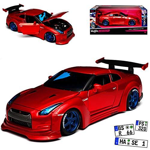 Maisto Nissan Skyline GT-R R35 Coupe Rot Tuning Ab 2009 1/24 Modell Auto mit individiuellem Wunschkennzeichen
