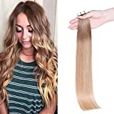 Maxfull Blonde Ombre Tape In Hair Extensions Human Hair, Double Sided Semi-Permanent Real Remy Balayage Hair Extensions, 20pcs, 18inch, 50g