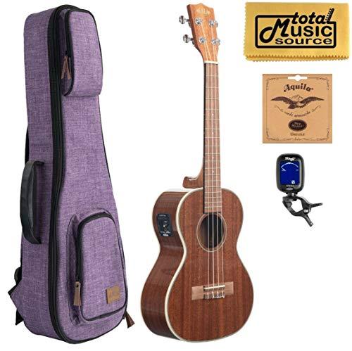 Kala KA-TGE Gloss Mahogany Tenor w/EQ - Natural, w/Purple Sonoma Case Bundle