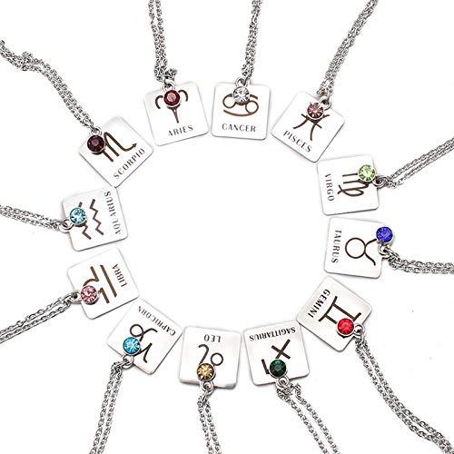 Beydodo Edelstahl Halskette für Frauen Waage Rosa Geburtsstein Anhänger Kette Silber Damen Freundschaftskette