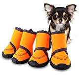 HaveGet Waterproof Dog Shoes Fluorescent Orange Dog Boots Adjustable Straps and Rugged Anti-Slip Sole Paw Protectors for All Weather Comfortable Easy to Wear Suitable for Large Dog (XS)