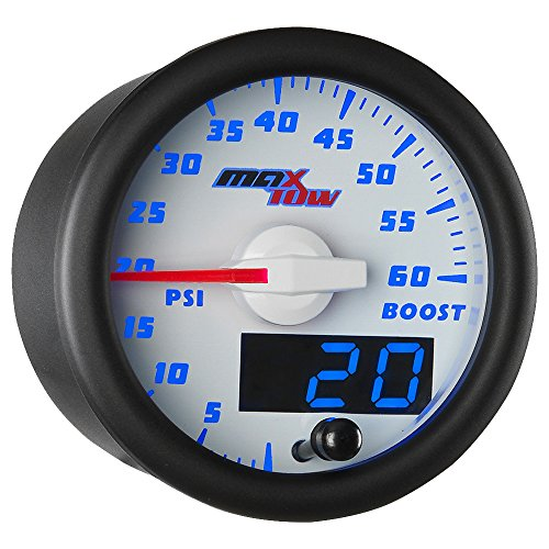 MaxTow Double Vision 60 PSI Turbo Boost Gauge Kit - Includes Electronic Pressure Sensor - White Gauge Face - Blue LED Illuminated Dial - Analog & Digital Readouts - for Diesel Trucks - 2-1/16' 52mm