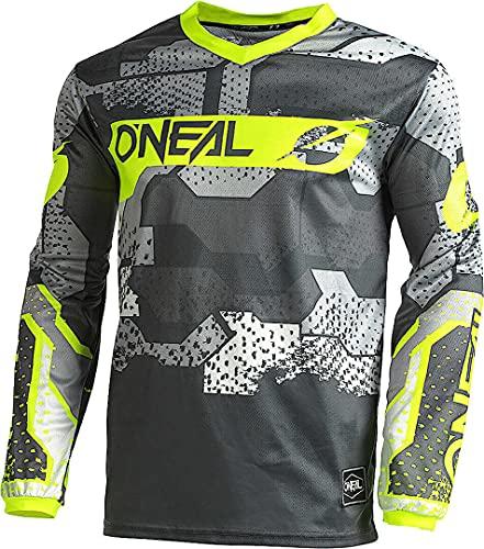 O'NEAL | Motocross-Shirt langarm | Kinder | MX MTB Mountainbike | Leichtes Material, ergonomischer Slim Fit Schnitt für perfekte Passform | Element Youth Jersey Camo V.22 | Grau Neon-Gelb | XL