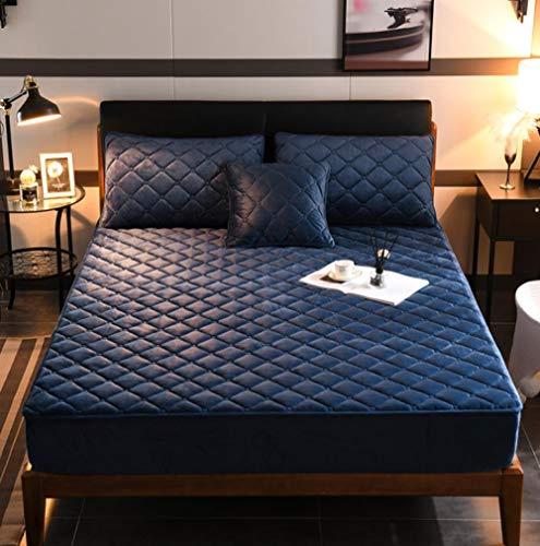 XLMHZP Queens Home - Sábana bajera ajustable de terciopelo de cristal, acolchado de algodón grueso, protector de colchón elástico para cama king - 150 x 190 cm + 30 cm