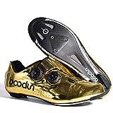 Zapatillas de Bicicleta Montaña Fibra Carbono Calzado Bicicleta Zapatos de Bicicleta Antideslizantes Transpirables para Hombres para Ciclismo Carretera de montaña (Golden),45