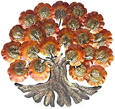 Collectible India Metal Wall Hanging Sculpture (30 x 28 inch, Brown Gold)