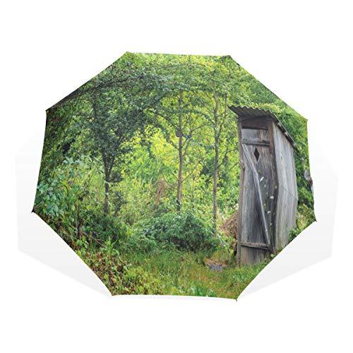 LASINSU Paraguas Resistente a la Intemperie,Outhouse Ancient Cottage Forest Imprimir,Fitness Entrenamiento Fuerte Grunge Print