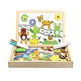 InnooCare Puzzle en Bois Magnétiques Animal, Aimants Puzzles avec Cadre| Planche à Dessin avec 3 Stylos Colorés 100 Pièces avec Tableau Noir - Jeux et Jouets Cadeau pour Les Enfants