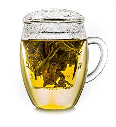 Creano Teeglas All in one, Große Teetasse mit Sieb und Deckel aus Glas, 400ml EIN idealer Teebereiter