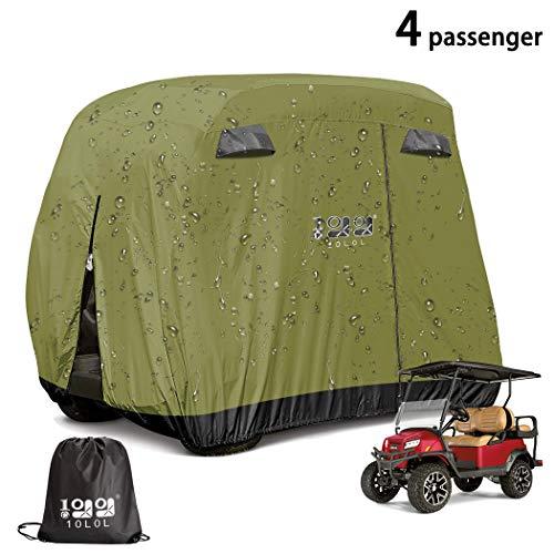 9.99WORLD MALL Universal 4 Passenger Golf Cart Storage Cover for EZGO, Club Car, Yamaha and Others, Rainproof Waterproof Sunproof Dustproof Protection - Green