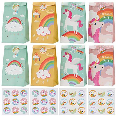 ZITFRI Papier Geschenktüten Mitgebsel Kindergeburtstag Tüten Einhorn Geschenktütchen 24 Partytüte mit 36 Aufkleber - Papiertüte für Mädchen, Kinder, Jungen, Giveaways Tüte Regenbogen