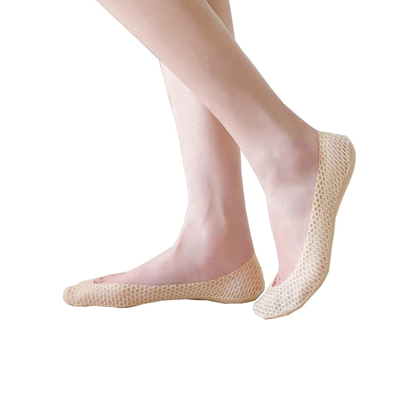 Womens No Show Socks, Ladys Scallion Series Stockings Silver Glitter Mesh Boat Invisible Low Cut Liners Socks 5/10 Pairs
