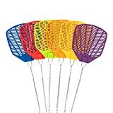 Garsum Fly Swatter with Long Wire Handle Heavy Duty Durable Plastic-Large Size-6 Pack- Multi
