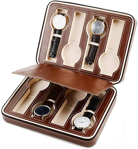 Caja de almacenamiento para relojes con cremallera, para hombres y mujeres, color marrón, 8 rejillas (color: marrón, tamaño: 24 x 18 x 6 cm)