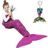 Mermaid Tail Blanket, Amyhomie Mermaid Blanket Adult Mermaid Tail Blanket, Crotchet Kids Mermaid Tail Blanket for Girls (Rose-Rainbow, Kids)