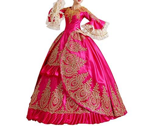 Nuoqi Damen Gothic Viktorianischen Kleid mit Spitze, Langarm Renaissance Mittelalter Bekleidung,...