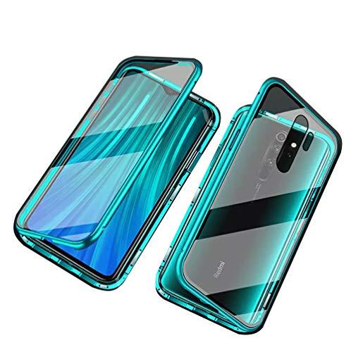 Kompatibel mit Xiaomi Redmi Note 8 Pro Hülle Magnetische Metallrahmen 360 Grad Handyhülle Vorne & Hinten Gehärtetes Glas Handyhülle Stark Magnetic Hülle Panzerglas Doppelseitige Hülle, Grün
