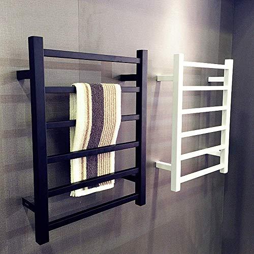 KAISIMYS Radiador de riel de Toalla con calefacción, toallero eléctrico Cuadrado Blanco y Negro Mate Opcional montado en la Pared para el baño del hogar, Lujoso Hotel, Negro