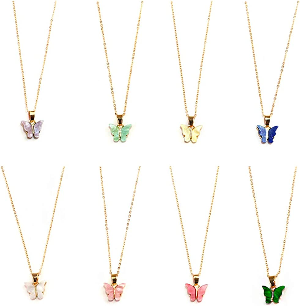 Butterfly Pendant Necklace Set, 4/8/12 PCS Acrylic Butterfly Chain Necklace, Cute Jewelry Gift for Woman and Girl