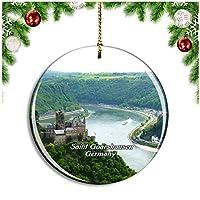 聖Goarshausen城カッツドイツクリスマスデコレーションオーナメントクリスマスツリーペンダントデコレーションシティトラベルお土産コレクション磁器2.85インチ