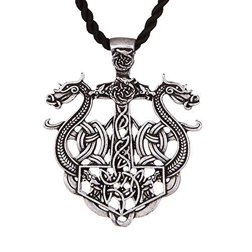 HAQUIL Dragon Necklace - Metal Alloy, Viking Double Dragon Pendant - PU Leather Cord, 19.7'