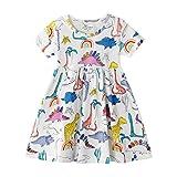 Vestito Bambina Cotone Organico, Vestito T-Shirt Manica Lunga & Manica Corta Ricamo Floral Striscia Cartoon Animale Casuale Vestito Unicorno Bambina Abito Bimba Carina • 2-3 Anni