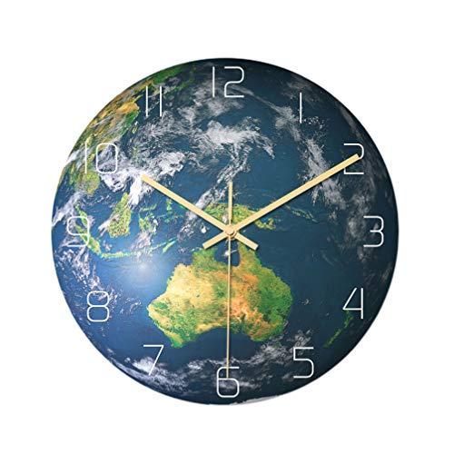 WINOMO Leuchtende Wanduhr Erde Uhr Wandbehang Dekorationen Leuchten im Dunkeln Hängende Uhr Welt Globus Wandkunst Nachtlicht Dekor für Wohnzimmer Schlafzimmer Kinderzimmer Keine Batterie