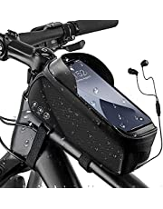 """WOTOW Bike Frame Phone Bag, Water Resistant Bicycle Front Tube Pouch Touch Screen Window Bag with Cards Holder Reflective Storage Pack Fits for Iphone7 8 Plus/XR/XS Samsung BlackBerry Up to 6.6"""" (Black)"""
