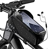 WOTOW Bike Handlebar Phone Holder Bag, Waterproof Bicycle Phone Mount Bag Reflective Front Tube Pouch with Touch Screen Window Storage Pack Fits for iPhone 13/12/XR/XS/Xmax Pro Samsung Up to 6.8'