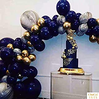 Pinbra Navy Blue Gold Balloons Garland kit 90 Metallic Party Balloons Latex Black Agate Marble Balloon Decoration kit: 16ft Balloon Strip Tape 100 Balloon Dot Glue and 33ft Balloon Ribbon for Baby shower Kids Adult Birthdays Party Decor