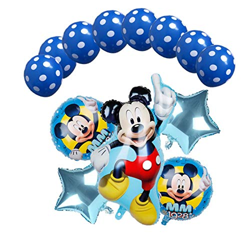 MAZ Globo 1Set Mickey Minnie Mouse Star Helium Balloons Fiesta de Cumpleaños Ducha Ducha 1Er Número de Cumpleaños Juguetes de Globo,1 Conjunto
