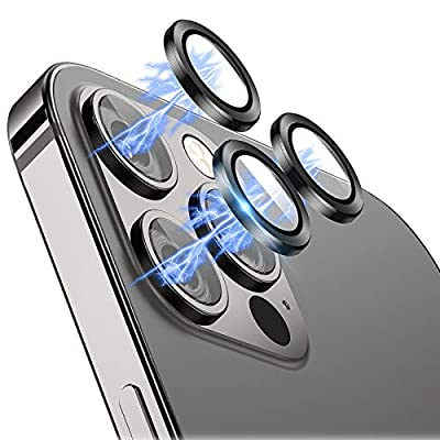 """Eelliss Camera Lens Protector Compatible with iPhone 12 Pro Max (6.7""""), Ultra Thin HD Clear Premium Tempered Glass with Aluminum Alloy Lens Ring Film Cover, Anti-Scratch Case Friendly"""