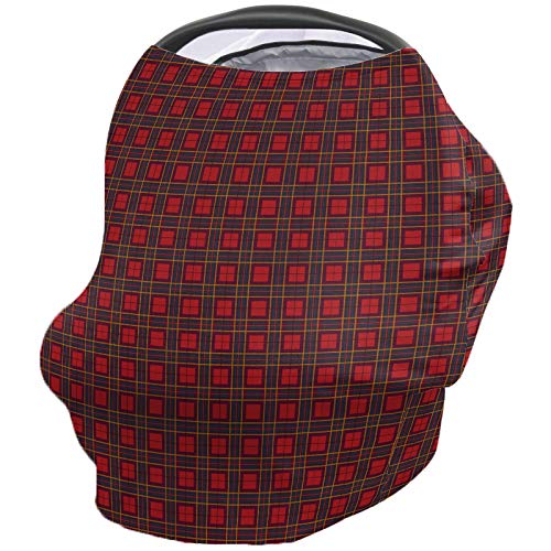 Amazing Deal Christmas Decor Nursing Cover for Baby Breastfeeding, Soft Breathable Stretchy Carseat Canopy, Nursing Cover Up for Girls, Boys – Classic Geometric Buffalo Plaid Red
