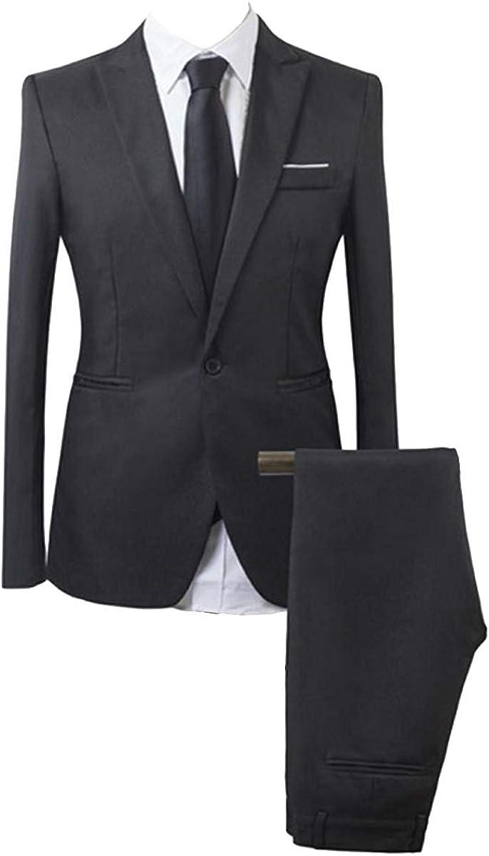 Wemaliyzd Men's 2 Piece Business Suit Slim Fit Peak Lapel Jakcet Separate Pants