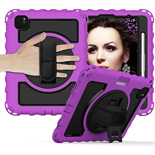 For IPad Air 360 Degree Rotation PC + Silicone Shockproof Combination Case With Holder & Hand Grip Strap & Neck Strap & Pen Slot Holder,luckyqq (Color : Purple)
