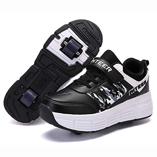 WFSH Unisex Kinder Roller Skate Schuhe abnehmbar Werden Sport Trainer für Jungen mädchen doppelträder Schuhe (Color : Black and White Double Wheel, Size : 38)