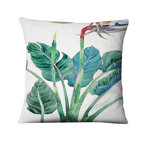 YLLAND Funda de almohada para sofá, cojín decorativo de hojas tropicales y lino con estampado de plantas verdes, decoración del hogar, 45 x 45 cm, LNNDE
