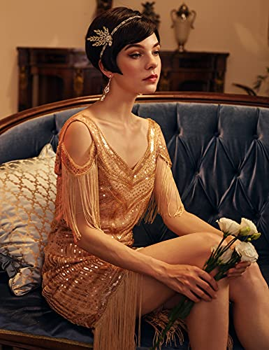 BABEYOND Art Deco 1920's Flapper Great Gatsby Inspired Leaf Medallion Pearl Headpiece Headband Gold