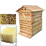 Beekeeping Wooden House Beehive Boxes with 7pcs Auto Flow Honey Hive Beehive Frames Honey Harvesting Tubes Kit Beekeeping Supplies Equipment Tool 7pcs Honey Frames and Bee Hive Boxes Combo Kit