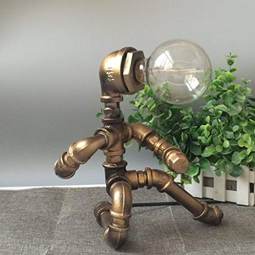 Vintage bureaulamp waterpijp Steampunk van metaal, voor het lezen van robot plug-in retro industrieel nachtlampje creatief antiek loft ijzer (zonder lichtbron) 7.09in Bruin