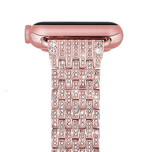 iBazal Cinturini Compatibile con iWatch Cinturino 40mm Series 6 SE 5 4 Metallo 38mm Series 3 2 1 Acciaio Diamante Cristallo Braccialetto Cinghia Braccialetti Ricambio per Apple Watch - Oro Rosa 38