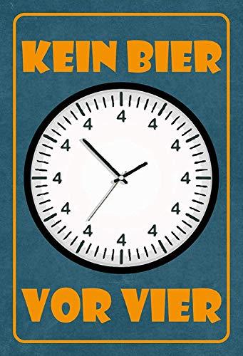 NWFS Bier kein Bier vor Vier Blechschild Metallschild Schild Metal Tin Sign gewölbt lackiert 20 x 30 cm